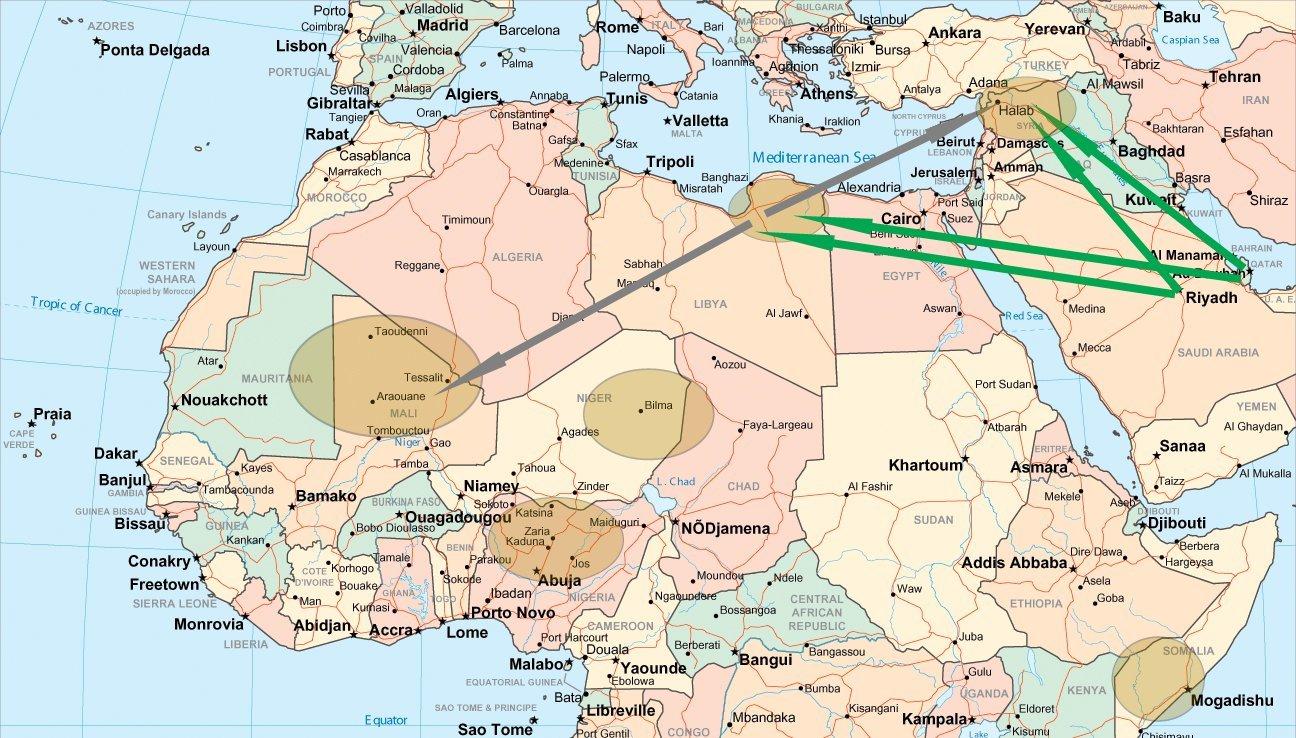 De grønne pilene viser finansiering av jihadistgrupper. De grå pilene viser hvor jihadistene drar. Ovalene viser områder med jihadistaktivitet.