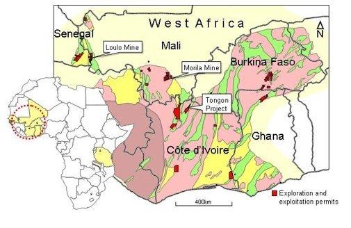 Kartet viser gullforekomster i Mali og nabolanda