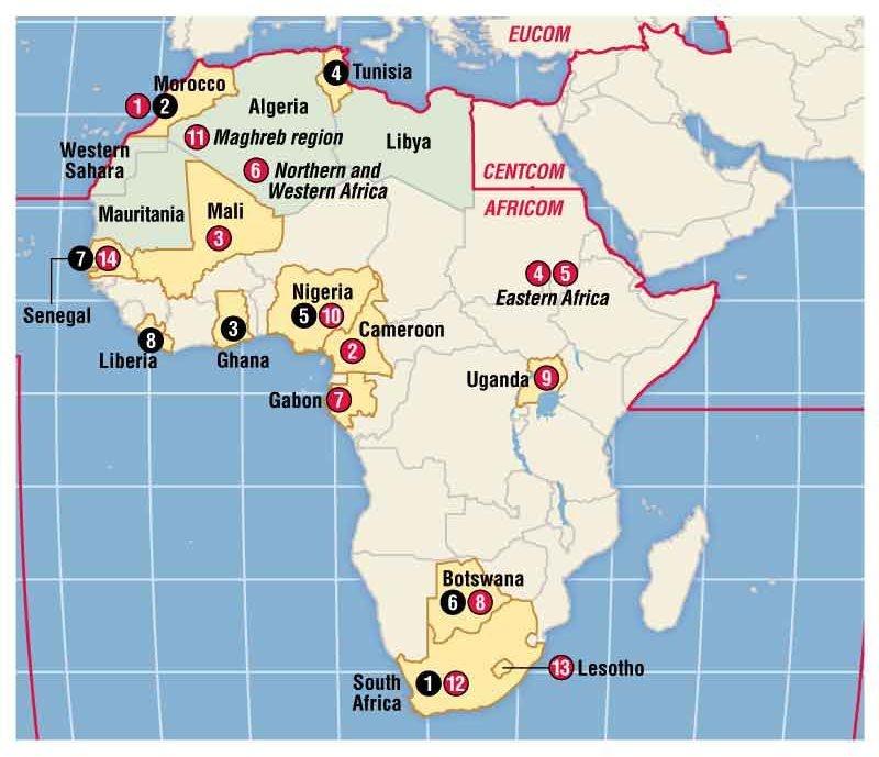 De røde tallene viser amerikanske militærøvelser i 2012. De svarte tallene viser treningsprogrammer.
