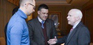 Yatsenyuk, Tyahnybok og senator John McCain
