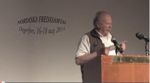Jan Myrdal på fredskonferansen i Degerfors