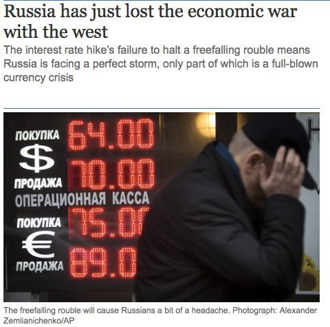 """The Guardians oppslag 16.12.2014: """"Russland har tapt"""""""