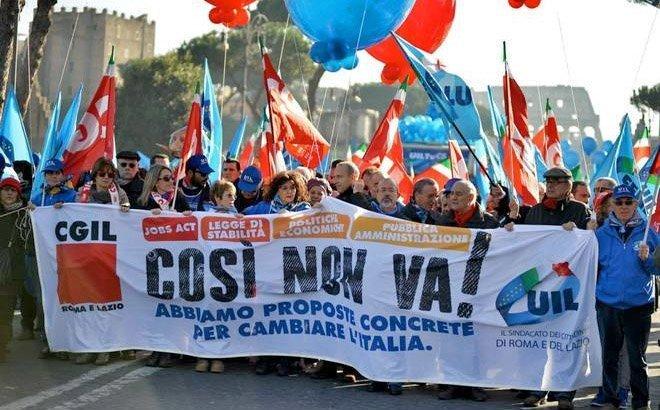 Plakaten sier: Dette kan ikke fortsette! Vi har konkrete forslag til hvordan vi skal forandre Italia.