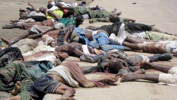 Bildet skal være fra massakren i Baga utført av Boko Haram