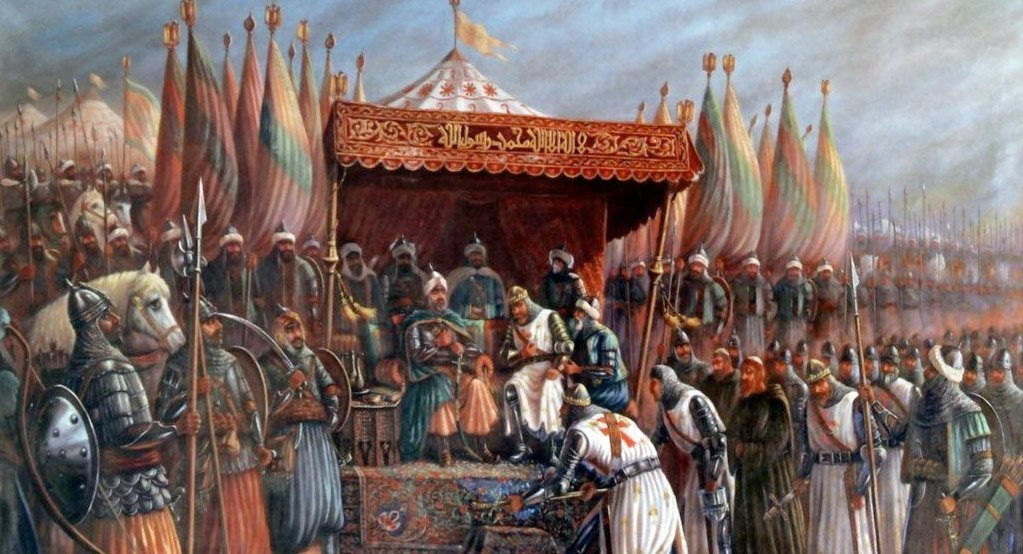 Saladin og Guy de Lusignan etter slaget ved Hattin