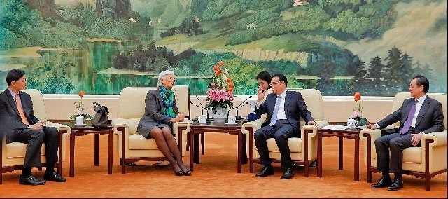 Christine Lagarde (IMF) med Kinas statsminister Li Keqiang