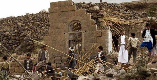 Landsby nær Sana'a i Jemen etter saudiarabisk bombing