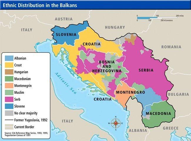 Dette kartet viser den etniske fordelinga i Jugoslavia rundt 1992. Men siden da er blant annet serberne i Krajina i Kroatia fordrevet, med NATO-støtte.