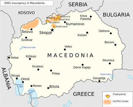 Kartet viser hvor opprøret i 2001 fant sted.