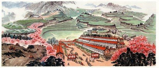 Propagandaplakat av Dazhai i Kina