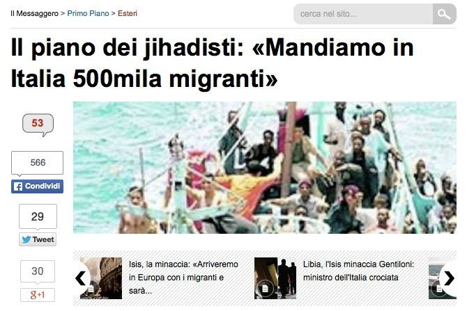 Oppslag i Il Messaggero 17. februar 2015