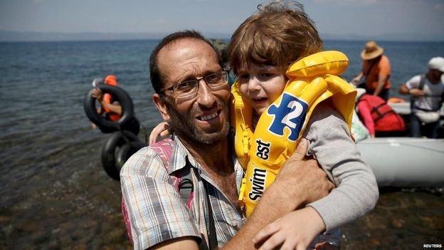 Syriske flyktninger på Lesbos. Kilde BBC