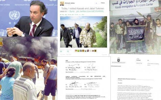 """Khaled Khoja, syriska oppositionskoalitionens president, erkände i april 2015 att man har en taktisk allians med al-Qaida. Oppositionskoalitionens förre president, Ahmad Jarba, var styrelseordförande i den biståndsfond som mottog 40 miljoner kronor av Sverige. 1 april 2014 besökte han den """"befriade"""" staden Kassab varifrån 2000 kristna fördrivits."""