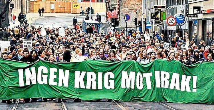15. februar 2003 demonstrerte kanskje så mange som 60.000 mot Irakkrigen i Oslos gater. Foto: Aftenposten
