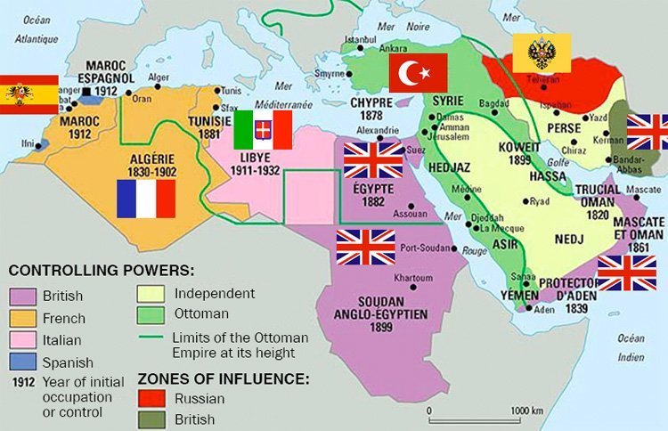 Midt-Østen sli det så ut før første verdenskrig. Tynn grønn linje viser Det osmanske rikets tidligere yttergrenser.