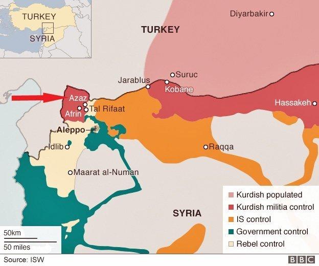 syria tyrkia azaz kart