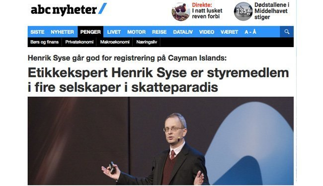 Oppslag i ABC Nyheter etter den første artikkelen til Øyvind Andresen