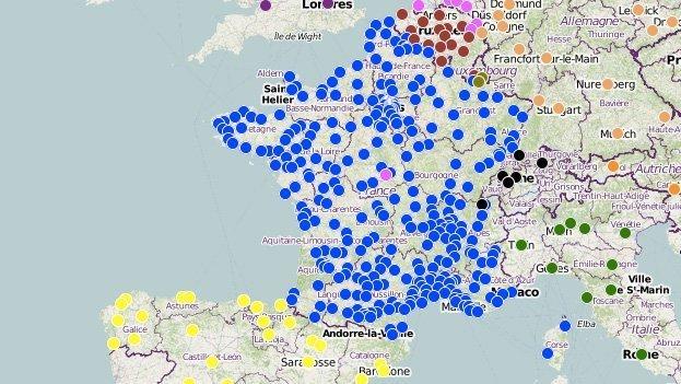 Kart som viser streiker og demonstrasjoner i Frankrike