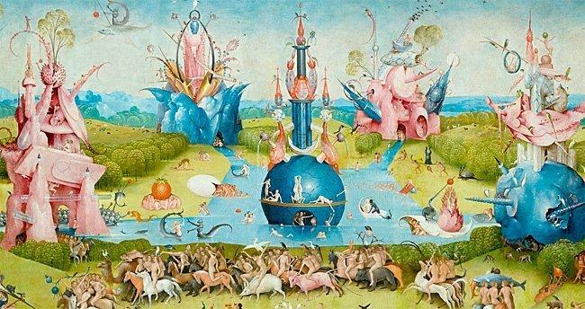 Detalj fra Hagen for jordiske gleder av Hieronimus Bosch