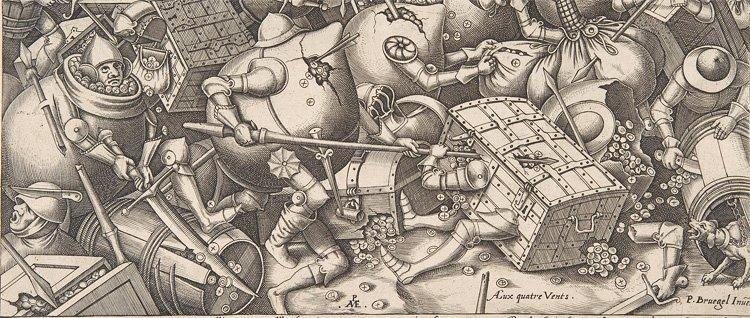 Pieter van der Heyden (Netherlandish, ca. 1525–1569) etter Pieter Bruegel den eldre: Krigen om pengene (detalj)