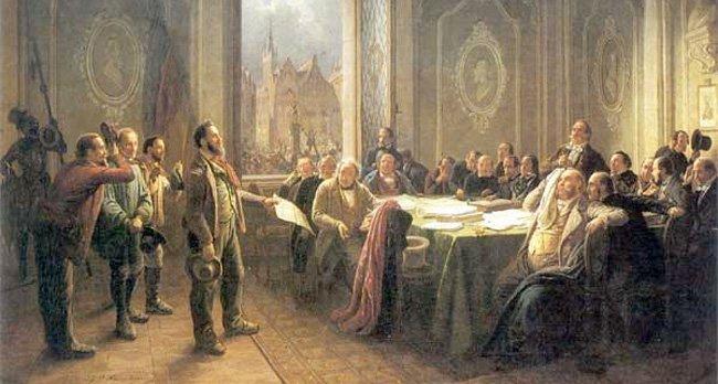 Johann Peter Hasenclever, 1848, Arbeidere foran magistraten