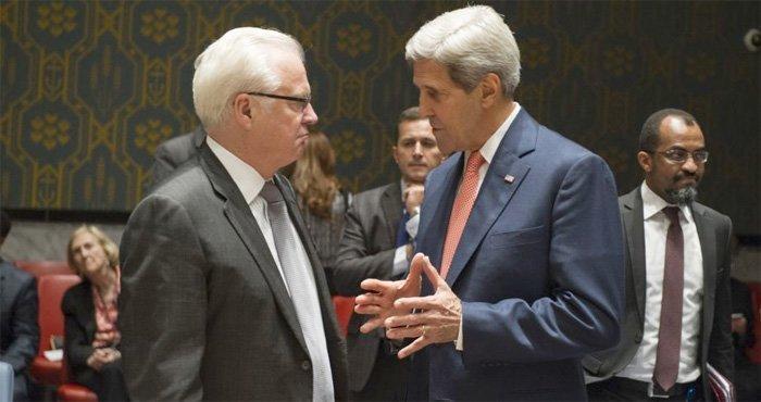 Vitalij Tsjurkin og John Kerry i FN