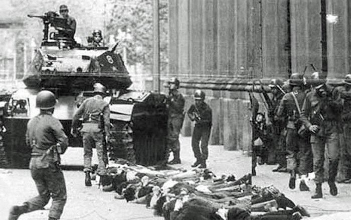 USA støttet militærkuppet mot Salvador Allendes demokratisk valgte regjering 11. september 1973