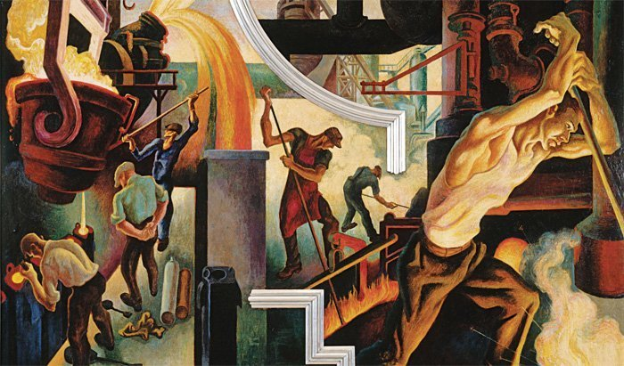 Thomas Hart Benton: Instruments of Power from America Today, 1930–31 / The Metropolitan Museum of Art Read more: http://www.smithsonianmag.com/arts-culture/story-behind-thomas-hart-bentons-incredible-masterwork-1-180953405/#VQZvSlqiuedveUQt.99 Give the gift of Smithsonian magazine for only $12! http://bit.ly/1cGUiGv Follow us: @SmithsonianMag on Twitter
