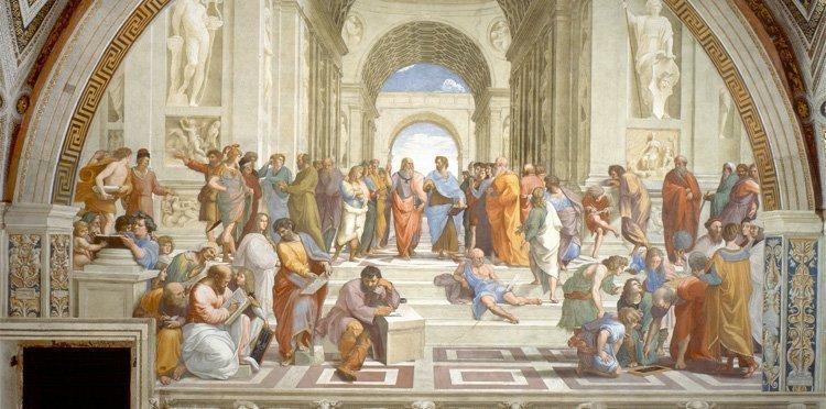 Skolen i Aten, klikk på bildet for å se hele kunstverket