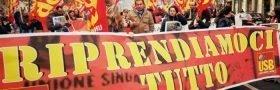 Italienare strejkar och protesterar mot EU