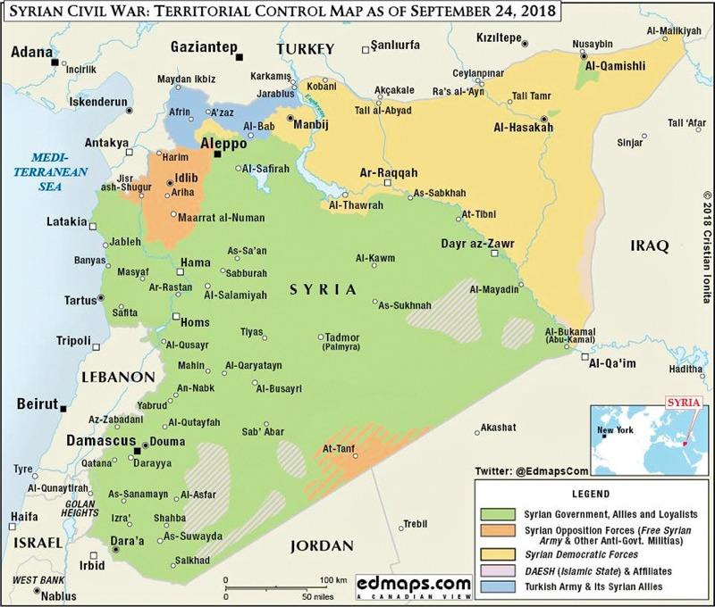 syria kart To kart viser Syrias seire på tre år   steigan.no